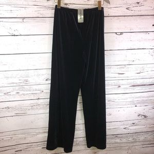 Chico's basic velvet dark blue wide leg pant